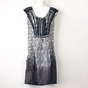 Nanette Lepore 100% silk striped ombré lace dress